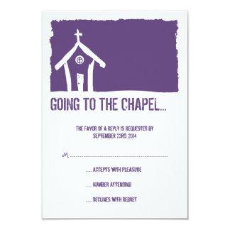 Capela roxa e branca que Wedding o cartão de RSVP Convite 8.89 X 12.7cm