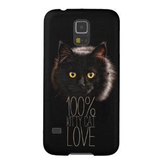 Capinha Galaxy S5 Amor 100% do gato do gatinho do gato preto da
