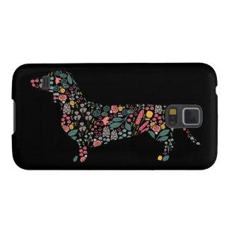 Capinha Galaxy S5 Arte floral da aguarela do teste padrão do cão do