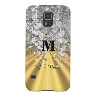 Capinha Galaxy S5 Brilho do ouro e da prata monogrammed