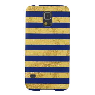 Capinha Galaxy S5 Folha de ouro elegante e teste padrão da listra