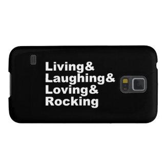 Capinha Galaxy S5 Living&Laughing&Loving&ROCKING (branco)
