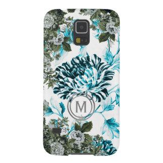 Capinha Galaxy S5 Monograma floral azul da profusão do jardim do