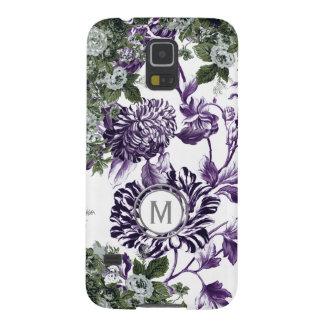 Capinha Galaxy S5 Monograma floral do jardim da profusão roxa do