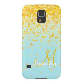 Capinha Galaxy S5 Nome amarelo dourado feminino do ombre de turquesa