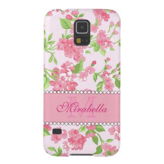 Capinha Galaxy S5 Nome de ramos cor-de-rosa da flor da aguarela do