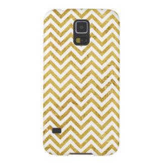 Capinha Galaxy S5 O ziguezague elegante da folha de ouro listra o