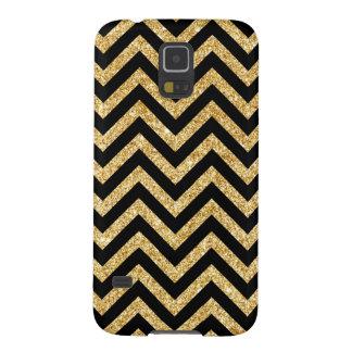 Capinha Galaxy S5 O ziguezague preto do brilho do ouro listra o