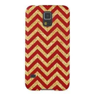 Capinha Galaxy S5 O ziguezague vermelho do brilho do ouro listra o