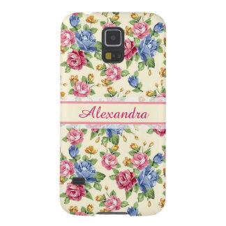 Capinha Galaxy S5 Rosa romântico Pastel da flor, vermelho, nome azul