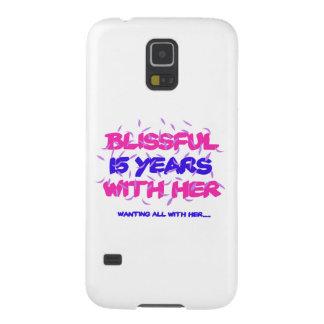 Capinha Galaxy S5 Tendendo o 15o design do aniversário do casamento