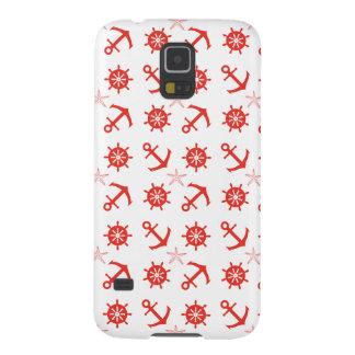 Capinha Galaxy S5 Teste padrão náutico vermelho