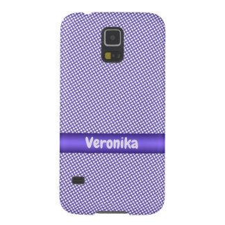 Capinha Galaxy S5 Teste padrão pequeno violeta da xadrez