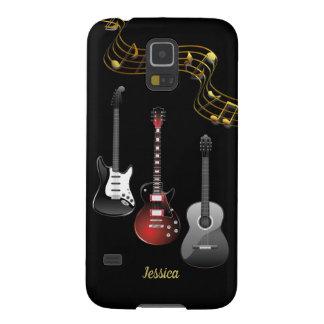 Capinha Galaxy S5 Três guitarra e notas da música, nome