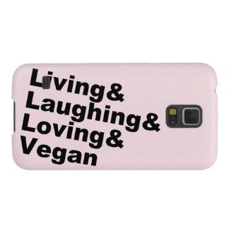 Capinha Galaxy S5 Vida e riso e amor e Vegan (preto)