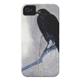 Capinha iPhone 4 Antiguidade preta do pássaro do corvo