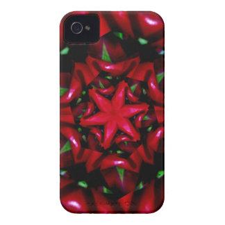 Capinha iPhone 4 design verde e vermelho da flor do kaleido