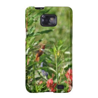 Capinha Samsung Galaxy SII Colibri em flores selvagens