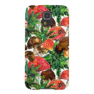 Capinhas Galaxy S5 Cogumelos da aguarela e teste padrão verde da