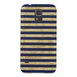 Capinhas Galaxy S5 Folha de ouro elegante e teste padrão da listra