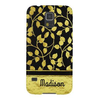 Capinhas Galaxy S5 Folhas botânicas da folha de ouro do falso,