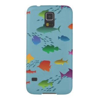Capinhas Galaxy S5 Grupo colorido de peixes subaquáticos