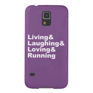 Capinhas Galaxy S5 Living&Laughing&Loving&RUNNING (branco)