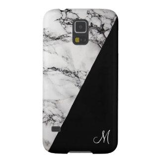 Capinhas Galaxy S5 Monograma de pedra de mármore preto e cinzento da