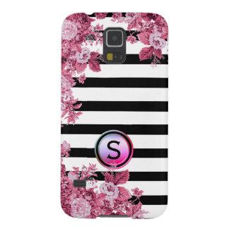 Capinhas Galaxy S5 Monograma floral do motivo do rosa branco preto do