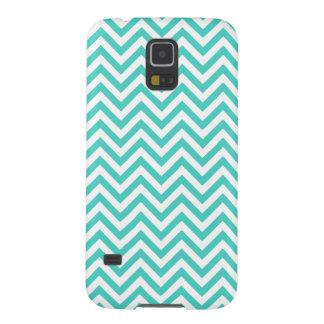Capinhas Galaxy S5 O ziguezague azul e branco da cerceta listra o