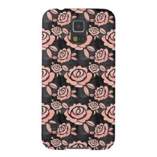 Capinhas Galaxy S5 Ona cor-de-rosa dos rosas um Backround preto
