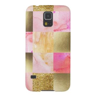 Capinhas Galaxy S5 ouro, pastels, cores de água, quadrados, colagem,