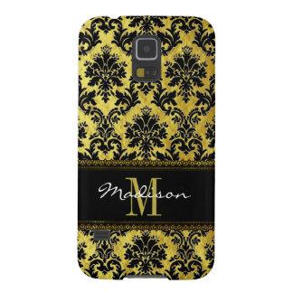 Capinhas Galaxy S5 Preto & damasco floral do ouro, laço, nome &