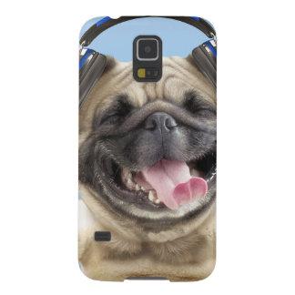 Capinhas Galaxy S5 Pug com fones de ouvido, pug, animal de estimação