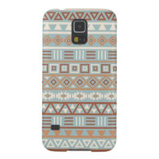 Capinhas Galaxy S5 Terracottas de creme azuis do teste padrão asteca