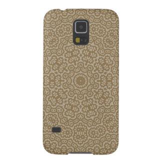 Capinhas Galaxy S5 Teste padrão de flor árabe do laço do ouro