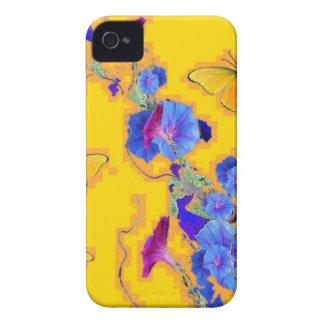 Capinhas iPhone 4 corriolas do azul das borboletas do ouro
