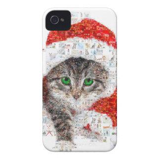Capinhas iPhone 4 gato de Papai Noel - colagem do gato - gatinho -