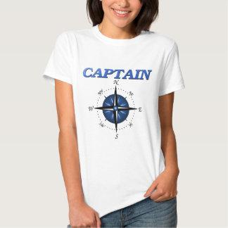 Capitão com o rosa de compasso azul t-shirt