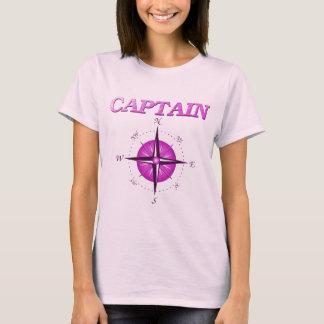 Capitão cor-de-rosa com rosa de compasso camiseta