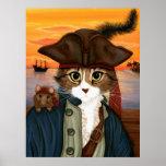 Capitão Leo, gato do pirata & poster da arte da fa