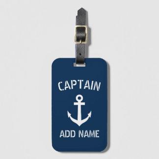 Capitão náutico do barco da âncora dos azuis etiqueta de bagagem
