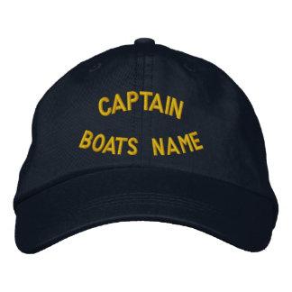 Capitão personalizado com seu nome dos barcos boné bordado