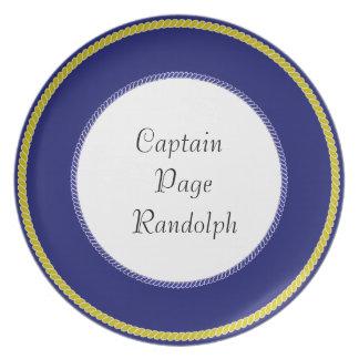 """""""Capitão-Placas (c) - MOLDE Gold_Navy & branco Louças De Jantar"""
