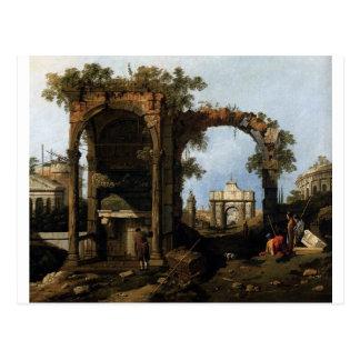 Capricho com ruínas clássicas e construções cartão postal