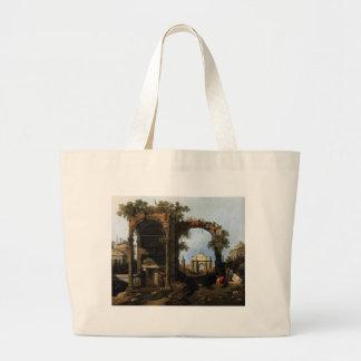 Capricho com ruínas clássicas e construções sacola tote jumbo