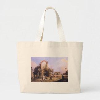 Capricho de uma igreja redonda com um elaborado sacola tote jumbo