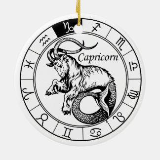 capricorn ornamento de cerâmica redondo