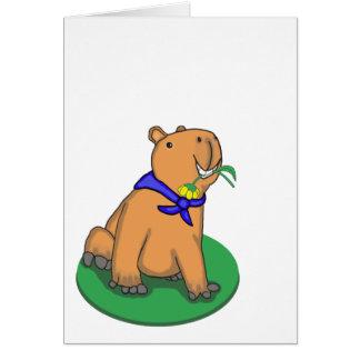 Capybara que guardara o cartão da flor, vazio