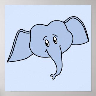 Cara azul do elefante Desenhos animados Poster